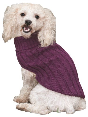 Fashion Pet Outdoor Dog Classic Turtleneck Sweater, Large, Plum (Pet Fashion Plum)
