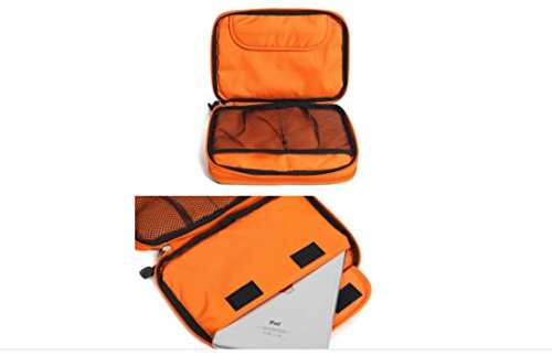 METORY Travel Accessories Electronics Organizer, Universal Cable Management Organizer Travel Bag For USB, Phone, iPad, Charger and Cable (Double Layer, Large, Grey and Orange) by METORY (Image #8)