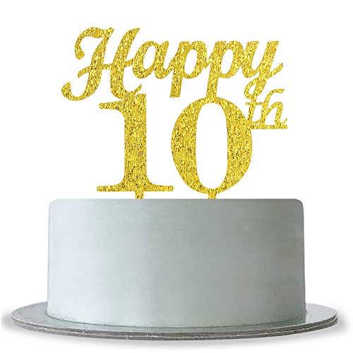 Gold Glitter Hello 10 Cake Topper,Anniversary Party Decoration WeBenison Happy 10th Birthday Cake Topper
