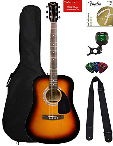 Fender FA-115 Dreadnought Acoustic Guitar - Sunburst Bundle with Gig Bag, Tuner, Strings, Strap, and Picks