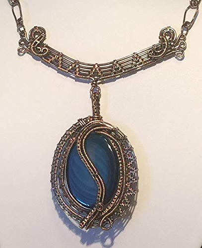 Dare to be brave will describe you as you wear this award winning Blue Agate necklace with attached necklace Bar