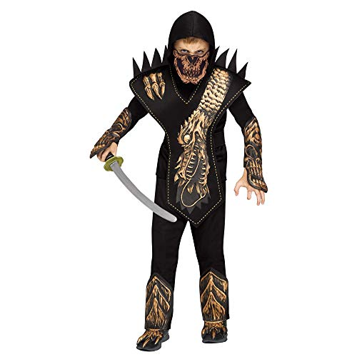 Fun World Skeleton Dragon Ninja Gold Costume, Small