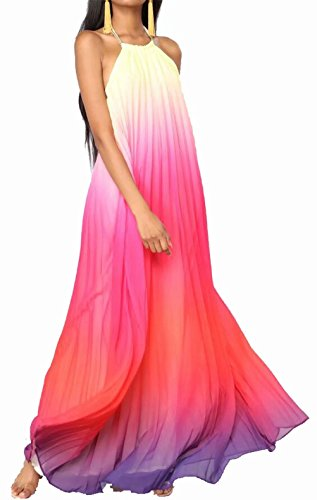 JINTING Halter Backless Tie Die Dress Women Halter Sleeveless Backless Flowy Chiffon Full Length Long Maxi Dress