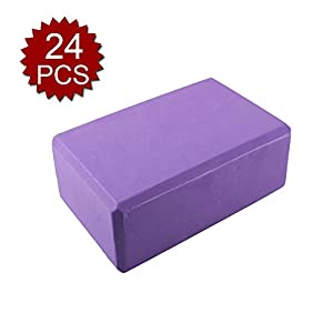 GOGO 24 Pack Yoga Blocks High Density EVA Foam Non-Slip Surface 4 x 6 x 9 Inch