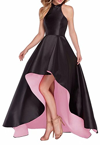 FNKS CRAFT High Low Homecoming Dresses Satin Prom Dresses Halter Evening Part Gowns Black/Pink US6 (Asymmetrical Satin)