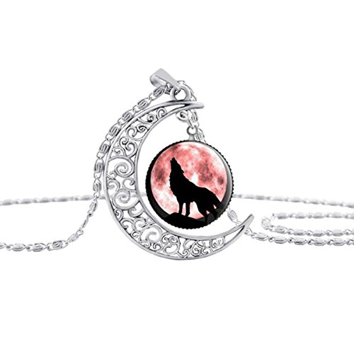 Linsh Dome Moon Howling Wolf Time Gems Pendant Necklaces Hollow Out Carved Fashion Jewelry(Style 8) -