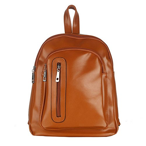 Yiji Brown Trible Women's Pu School Zippers Leather Front Backpack r8zrwdxt