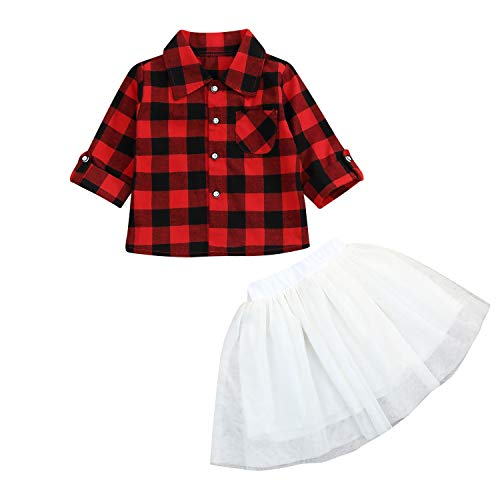 Toddler Christmas Outfits Baby Girls Button Down Plaid Flannel T-Shirt + Sweet Tutu Skirt 2Pcs Dress Set (9-12 Months, Red Top +White Skirt)
