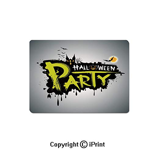 Gaming Mouse Pad Custom,Halloween Party Hand Drawn Brushstrokes Artistic Design Grunge Cartoon Mouse Mat,Non-Slip Rubber Base Mousepad,7.9x9.5 inch,Yellow White -