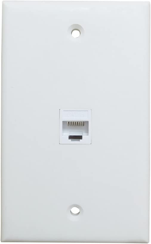 1 Port Ethernet Wall Plate - ESYLink Cat6 Ethernet Cable Wall Plate Female to Female - White
