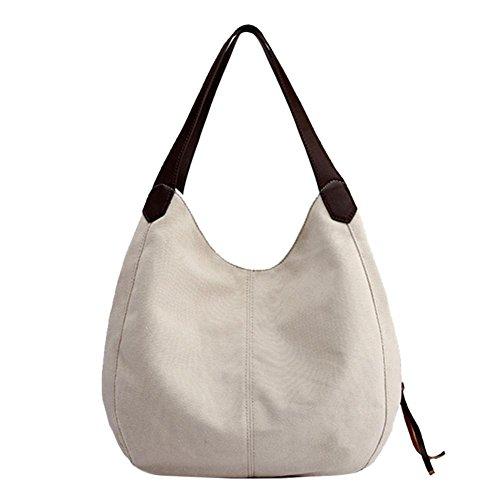 Shoulder Vintage Bags Everpert Ladies Women Totes Handbags Beige Casual Hobos Canvas gqdW68dw