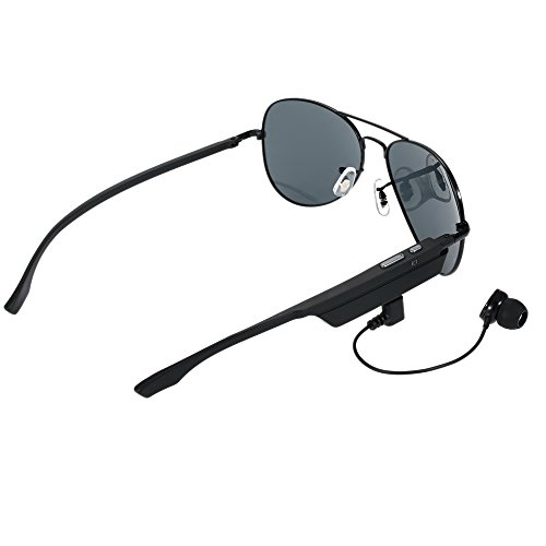 Docooler K3 Bluetooth Headset Sunglasses Polarized Glasses & Wireless Bluetooth 4.1 + EDR Music Headphone Hands-free w/ Mic Black for iPhone Samsung LG Android iOS Smart Phones Tablet - Polarized And Sunglasses Iphone