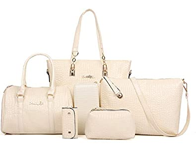 1f6d658f08 H X 6 piece handbag set PU leather purse Female Messenger Bags for  Crocodile pattern Shoulder Bags
