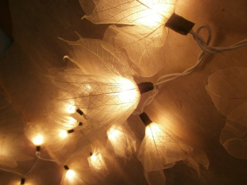 1 Set of 20 Natural Cream Flowers Handmade From Para Leaf – Lighting String Lights Set Lamp Decoration Patio Home Living Room Yard Garden Indoor and O…