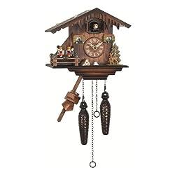 Quartz Cuckoo Clock Swiss house with music, turning dancers EN 424 QMT