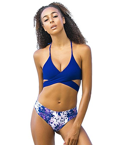 RUUHEE Women Halter Push up Thong Floral Printing Bottom Cross Front Bikini...