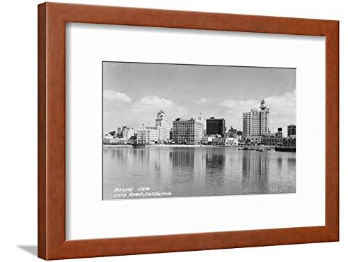 ArtEdge California City Skyline View Photograph-Long Beach, CA Brown Framed Matted Wall Art Print, 12x16 in