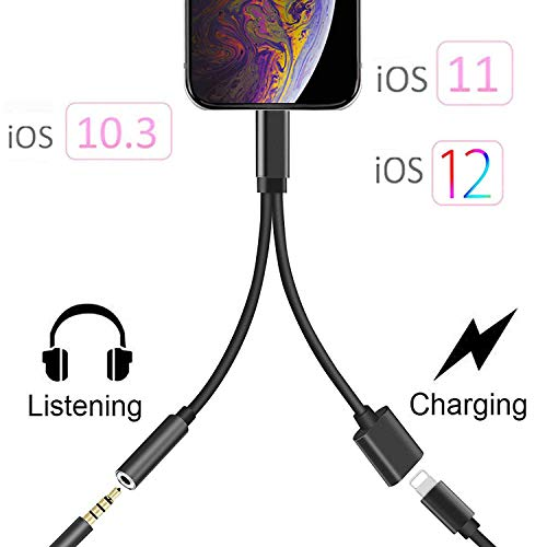 Headphone Adapter Jack Dongle for iPhone 11 11Pro /Xs/Xs Max/XR/ 8/8 Plus/7/7 Plus Adapter Listen to Music Adapter Audio and Charge 3.5mm Splitter Converter Compatible with Adaptor Charger.(Black)