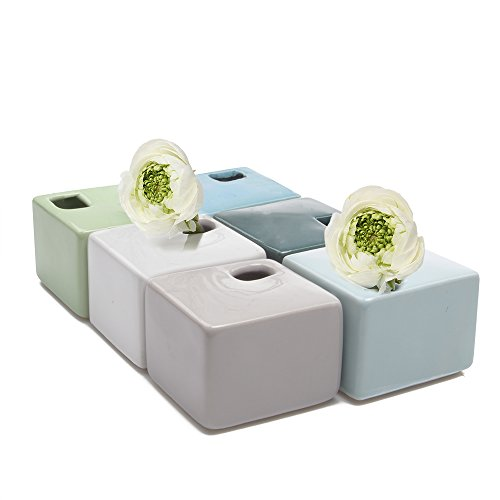 Chive - Ceramic Square Small Bud Flower Vase, Set of 6 - Grey, Green, Mint Green, Green Peridot, Teal Blue, White