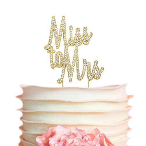 Miss to Mrs GOLD Rhinestone Cake Topper l Wedding Bridal Shower Decorations | Bachelorette Party Cake Topper | Engagement | Bride to Be | Hen Party | (Miss to Mrs Gold)