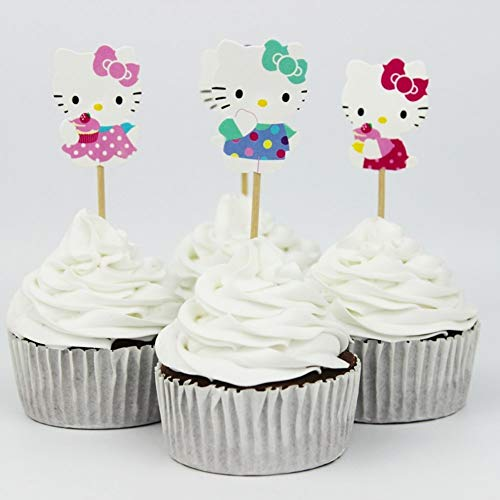 24pcs Cute Kitty Cat Cupcake Toppers for Theme Party Birthday Cake -