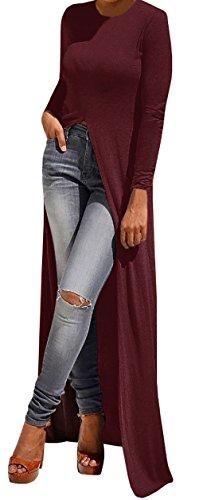 Imily Bela Women's Long Sleeve O-neck Slit Front Long Shirt Dress