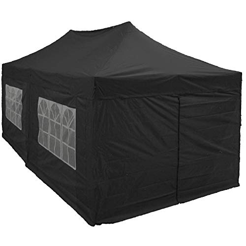 DELTA Canopies 10'x20' Ez Pop up Canopy Party Tent Instant Gazebos 100% Waterproof Top with 6 Removable Sides Black - E Model