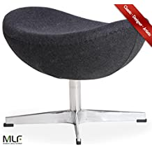 MLF Arne Jacobsen Egg Chair's Ottoman (5 Colors). Premium cashmere & Hand Sewing. High Density Foam. 4 Star Satin Polished Aluminum Base. Strong Fiberglass Inner Shell for Firm & Durability.(Dark Grey)