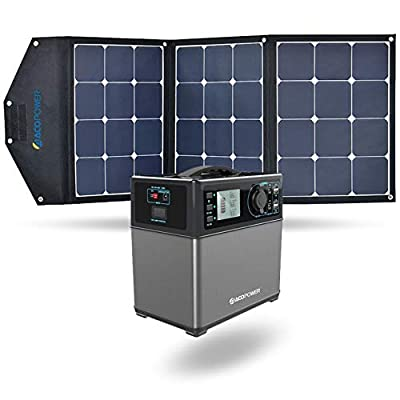 ACOPOWER 12V 105W Portable Solar Panel Kit; Foldable Solar Charger Suitcase for RV, Boat