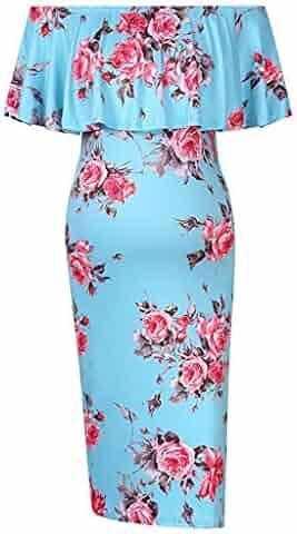c31b4420 Dsood Maternity Dress, Women's Ruffle Off Shoulder Sleeveless & 3/4 Sleeve  Maternity Dress
