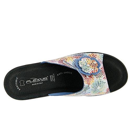 Flexus Womens Fabia Essentials Sandalo Scorrevole Bianco Multi