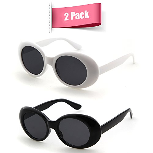 Bold Retro Oval Mod Thick Frame Sunglasses Clout Goggles with Round Lens (White&Black, 51)