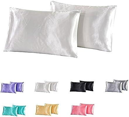 nioBomo 100% satén de seda brillante algodón funda de almohada fundas de almohada para pelo
