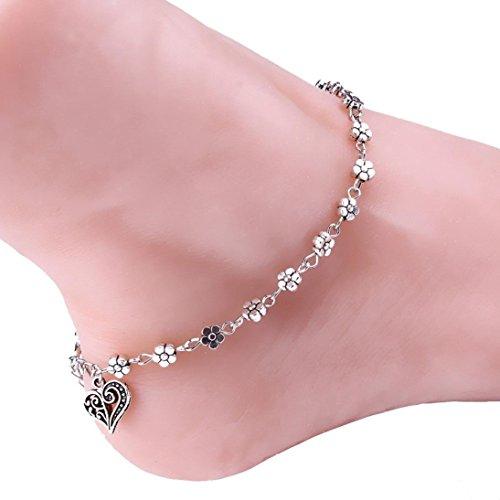 HIRIRI Women Girl Silver Cute Small Plum Flower Heart Chain Anklet Ankle Bracelet Barefoot Sandal Beach Foot (Silver)