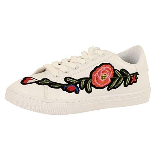 Guilty Shoes Women's Fabric Metallic Slide In Slip On Round Toe Fashion Fabric Platform Sneakers Fashion Sneakers, Flower White PU, 6.5 (B) M US