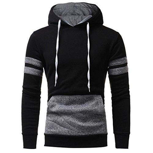 kaifongfu Mens' Long Sleeve Hoodie, Hooded Sweatshirt Tops Jacket Coat Outwear (L, Black)