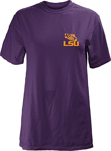 T-shirt Sleeve Washed Short Garment (NCAA LSU Tigers Junior's Legacy Short Sleeve Garment Washed T-Shirt, Purple, X-Large)