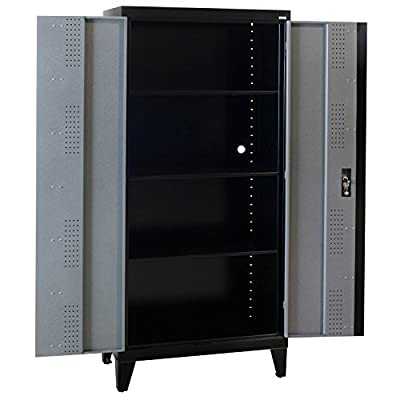 "Sandusky Lee GF3F361872-M9L Modular System Storage Cabinet, 2 Door, 36"" Width x 18"" Diameter x 79"" Height, Black/Multi Granite"