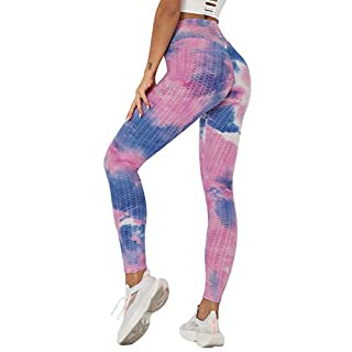 Seamaid Women's High Waist Yoga Pants Tummy Control Slimming Booty Leggings Workout Running Butt Lift Tights Pink/M