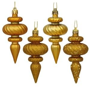 Vickerman 4 Finish Finial Ornaments, 4-Inch, Antique Gold, 8-Pack - Gold Finial