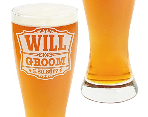 Engraved Classic Pilsner Glass (Classic Wedding Pub 23oz Party Pilsner Beer Glasses Personalized Engraved Groomsmen Gift Custom Man of Honor Father of Bride Father of Groom Guest Wedding Favor Decor)
