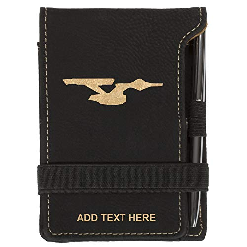 Personalized Star Trek Enterprise 2 Mini Notepad Holder Set for Business Professionals - Pocket Memo Pad Book Cover - Includes Mini Note Pad and Pen to Jot Notes and Writing To Do List, Black & Gold -