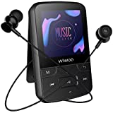 Wiwoo 16gb Bluetooth MP3 Player for Sports with Clip,FM Radio/Voice Recorder,Ebook,Including Armband and Earphones, Support up to 128GB,Black