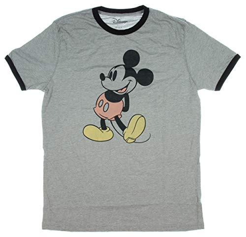 Disney Mickey Mouse Shirt Classic Retro Stance Ringer Men's T-Shirt (Large) Heather Grey