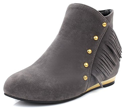Heel Studded Low Fashion Boots Grey Fringe Suede Ankle Women's Faux Up Chunky Short Zip Easemax 8EwOv5