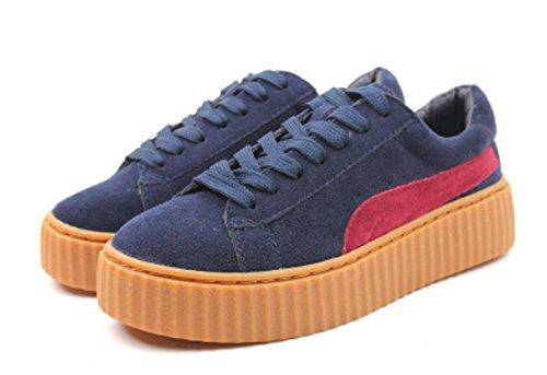 Scarpe YCMDM nuovo svago Sport sandali spessi rotonde delle donne testa di scarpe , navy blue , 39