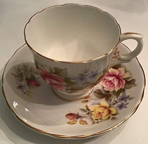 Vintage Crown Staffordshire Bone China Tea Cup & Saucer Gold Rim & Roses England
