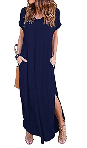 (PRIMODA Women's Casual Sexy Side Split V Neck Loose Pocket T-Shirt Long Dress Short Sleeve Maxi Dress£¨Dark Blue,2XL)