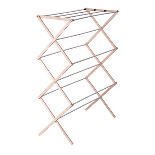 Household Essentials 5001 Collapsible Folding Wooden Clothes Drying Rack for Laundry | Pre assembled (Clothes Dryer Rack)