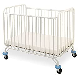 L.A. Baby Deluxe Holiday Folding Metal Crib , White